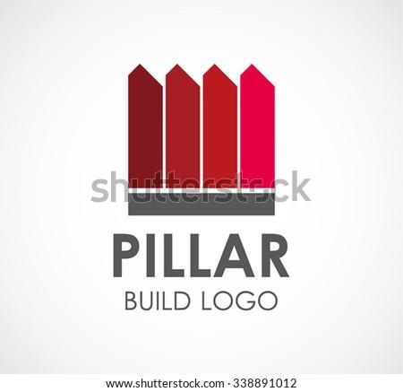 Pillar building of ribbon abstract vector and logo design - stock vector