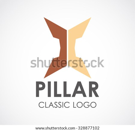 Pillar of history and classic building abstract vector and logo design or template tourism business icon of company identity symbol concept - stock vector