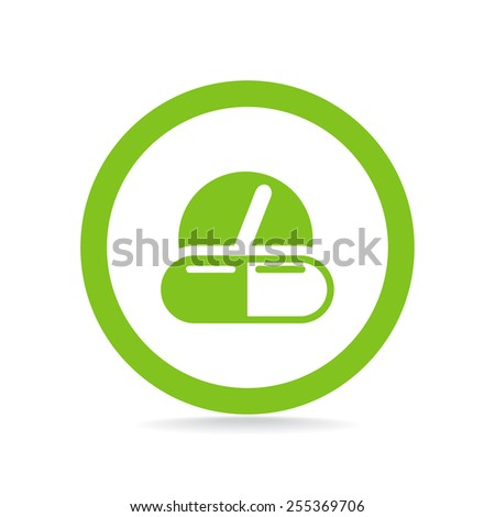 Pills and capsules icon vector - stock vector
