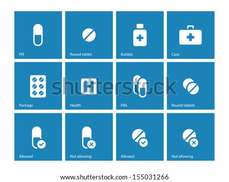 Pills and capsules icons on blue background. Vector illustration. - stock vector