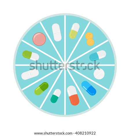 Pills and capsules in pill organizer. Medical Concept, Illustration of Pharmacy Bag with Pill Container or Pill Box Isolated on A White Background. Vector Illustration. - stock vector
