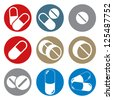 Pills and capsules round icon set, single color vectors collection. - stock vector
