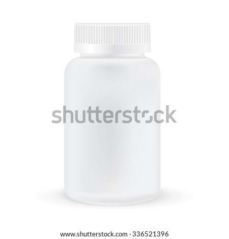 Pills box. White medical container. Vector illustration isolated on white background