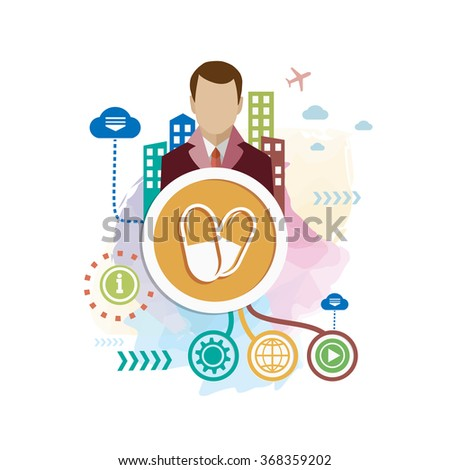 Pills health and man on abstract colorful background with different icon and elements. Pills health flat design - stock vector