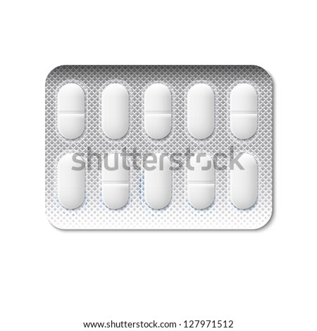 Pills in a blister pack. Vector illustration