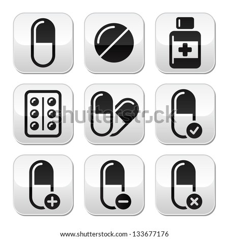 Pills, medication  vector buttons set - stock vector