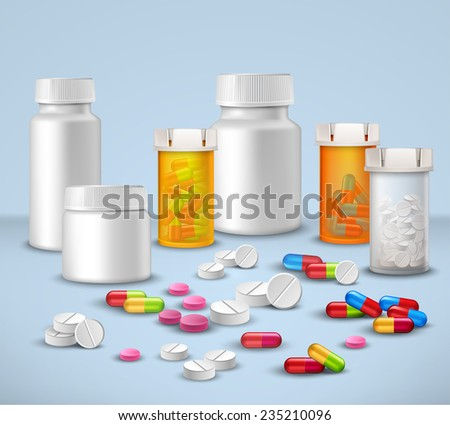Pills tablets and medicines in plastic bottle packages decorative icons set vector illustration - stock vector