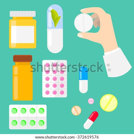 Pills, vitamins and drug medicaments in flat style. Pills, capsules and prescription bottles. Medical icons. Pill in hand. - stock vector