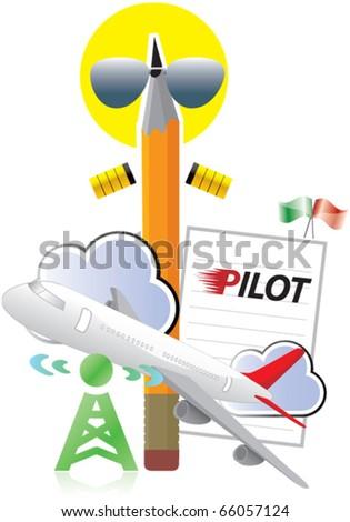 pilot, airplane, pen, penman - stock vector