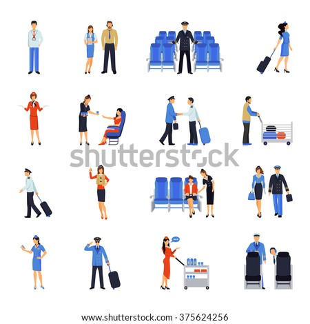 Pilot and stewardess at work during the flight and at the airport flat icons collection abstract vector illustration - stock vector