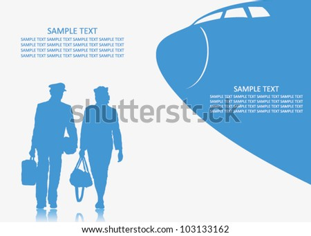 Pilot and stewardess background - vector illustration - stock vector