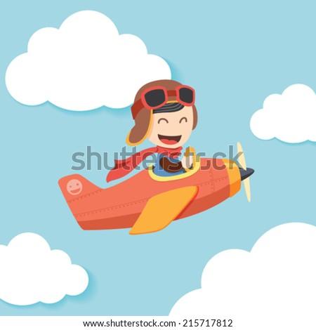 Pilot Boy - stock vector