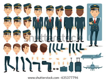 Pilot character creation set.Icons with different types of faces and hair style, emotions,front,rear,side view of male person.Moving arms,legs.Vector illustration Isolated on white background