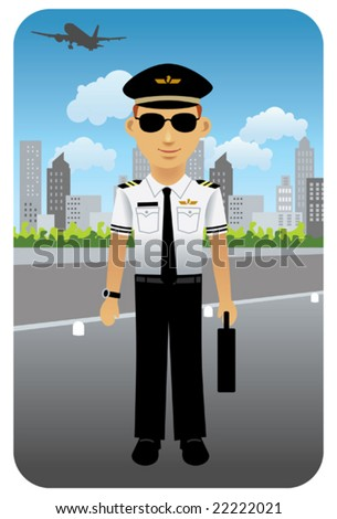 Pilot in uniform at an airport.  Visit my portfolio for more professions and business people. - stock vector