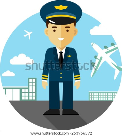 Pilot in uniform on airport background with airplanes in flat style - stock vector