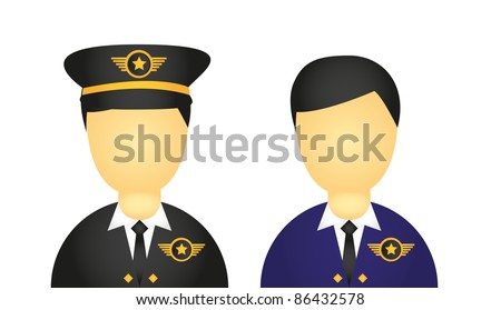 pilot with suit and hat icons isolated over white background. vector - stock vector