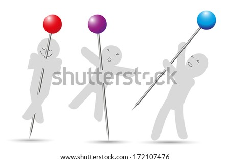 pin and psychology - stock vector