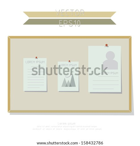 Pin board retro vector design  workflow layout, diagram, number options, web design, infographics, etc. - stock vector