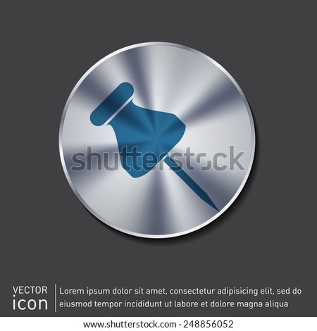 pin for papers sign. symbol icon office supplies - stock vector
