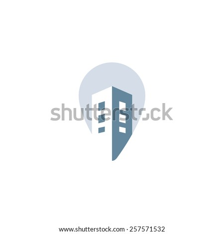 Pin house vector concept. Construction development logo design. Real estate icon - stock vector