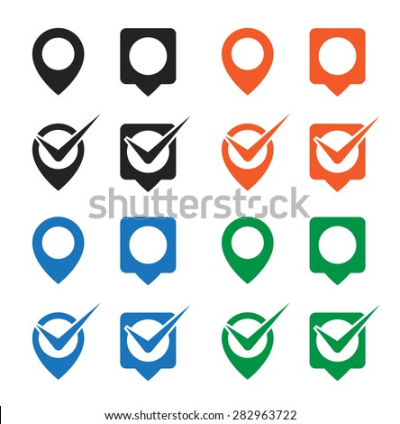 pin map marker check mark pointer icon - stock vector
