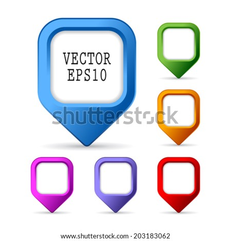 Pin map markers, vector illustration - stock vector