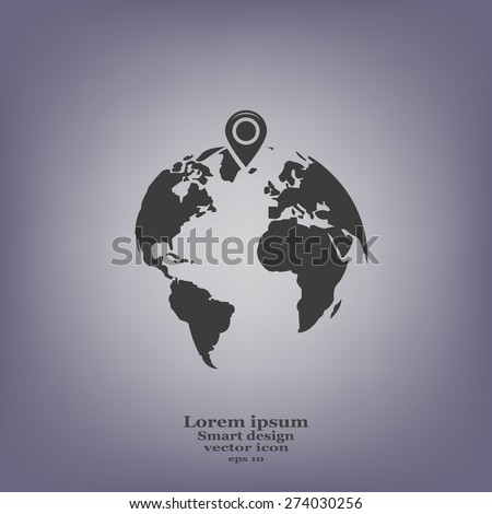 pin on globe icon - stock vector