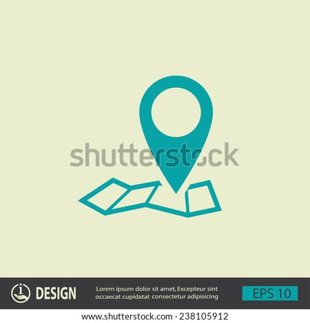 Pin on the map. Vector icon - stock vector