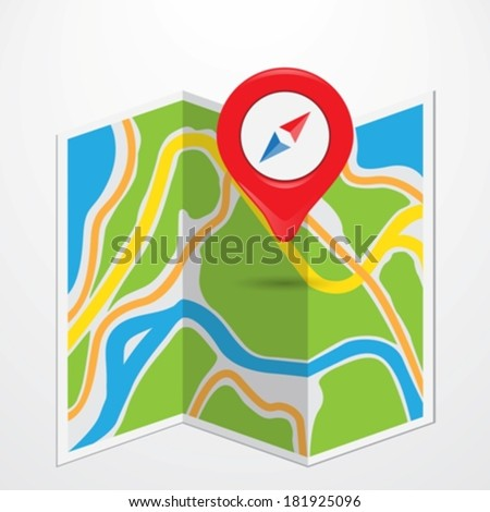 pin pointed on a map eps10 - stock vector
