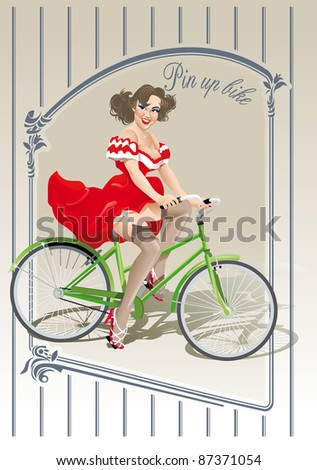 pin-up sexy girl rides bicycle bike - stock vector