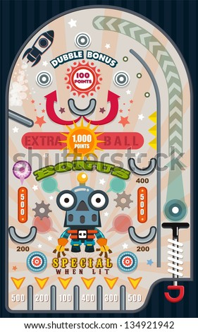 Pinball Game, Vector illustrator - stock vector