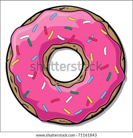 Pinc doughnut. Vector - stock vector