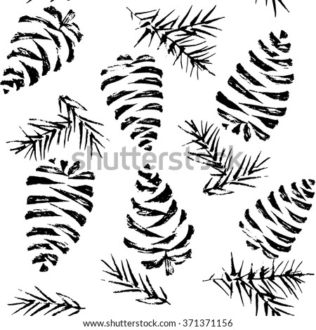 Pine cones seamless pattern. Christmas gift wrapping. Vector illustration - stock vector