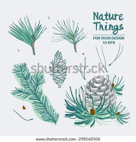 Pine fir christmas tree cedar spruce and cones backgraund vector illustration. Backgraund with cones and fur-tree branches.Vintage background for fabric, scrapbook, greeting cards.  - stock vector
