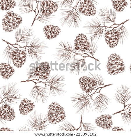 Pine fir christmas tree cedar spruce and cones seamless pattern vector illustration - stock vector