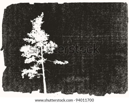 pine silhouette on grunge background, vector illustration