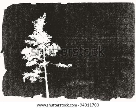 pine silhouette on grunge background, vector illustration - stock vector