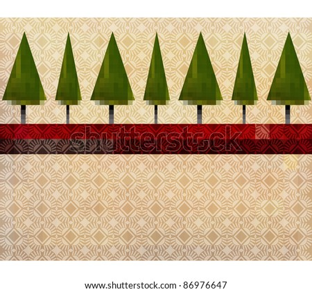Pine tree artistic patterned  backgrounds esp10 - stock vector