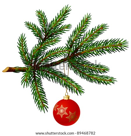Pine Tree Branch with Christmas Ball on White Background. Vector Illustration - stock vector