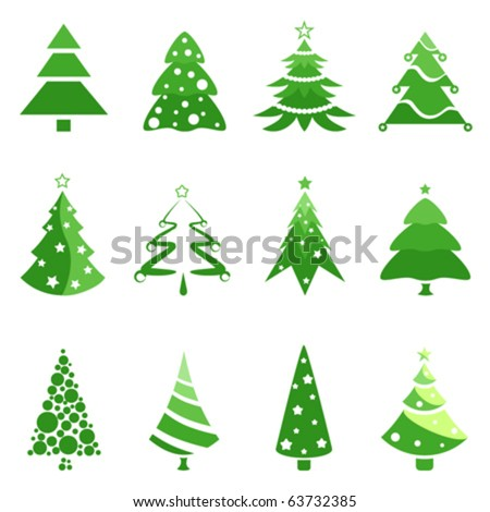 pine tree for christmas decoration - stock vector