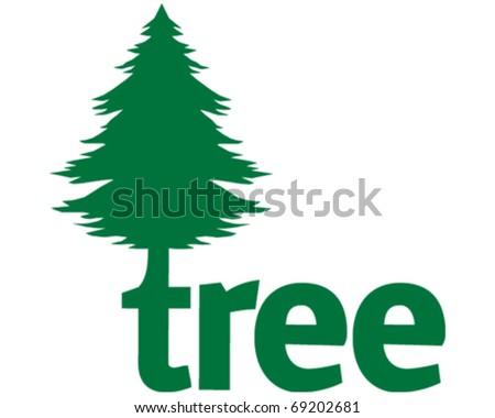 Pine Tree Icon - stock vector