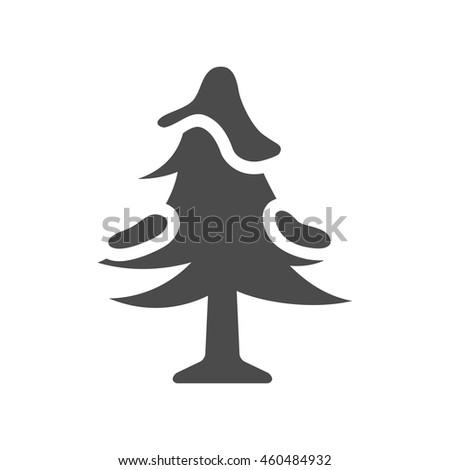 Pine tree icon in black and white grey single color. Snow december season - stock vector