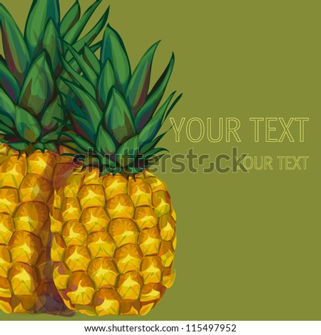 pineapple background - stock vector