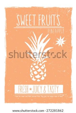 Pineapple fruit print in vector,vintage look. - stock vector