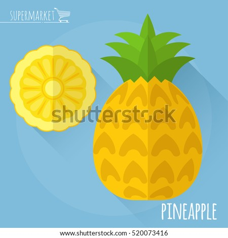 Pineapple.  Long shadow flat design vector icon.