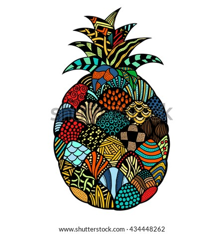 pineapple. Plant. Exotic fruit. Line art. Colored Hand drawn. Doodle vector illustration. Decorative. Stylized. Tattoo.