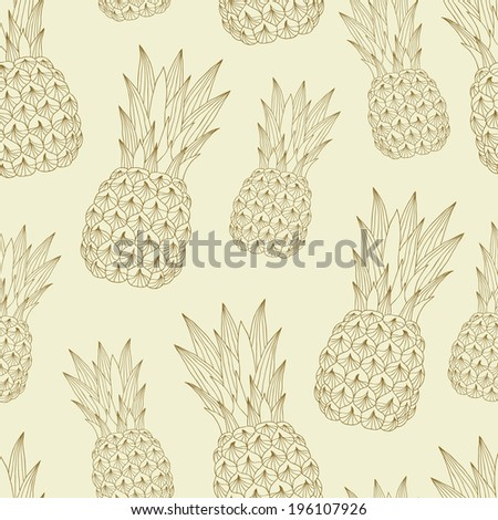 Pineapple seamless pattern. Vector illustration. - stock vector