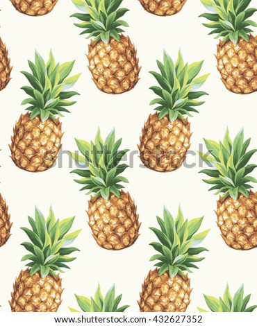 Pineapple seamless pattern. Vector illustration.