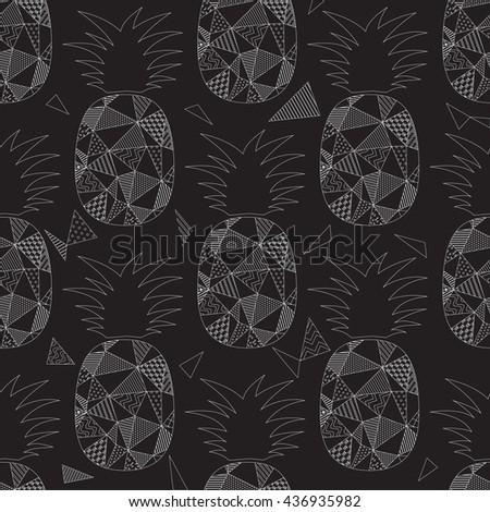 Pineapple seamless pattern vector illustration - stock vector