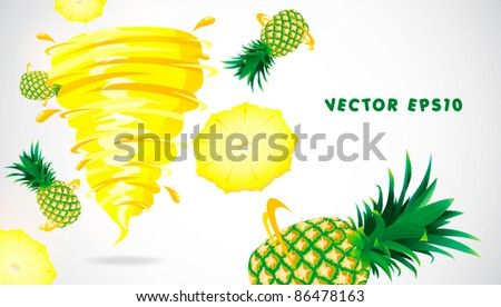 pineapple with juicy twister - stock vector